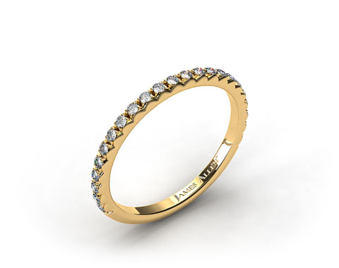 Ladies 18k Yellow Gold French Cut Pave Diamond Wedding Ring